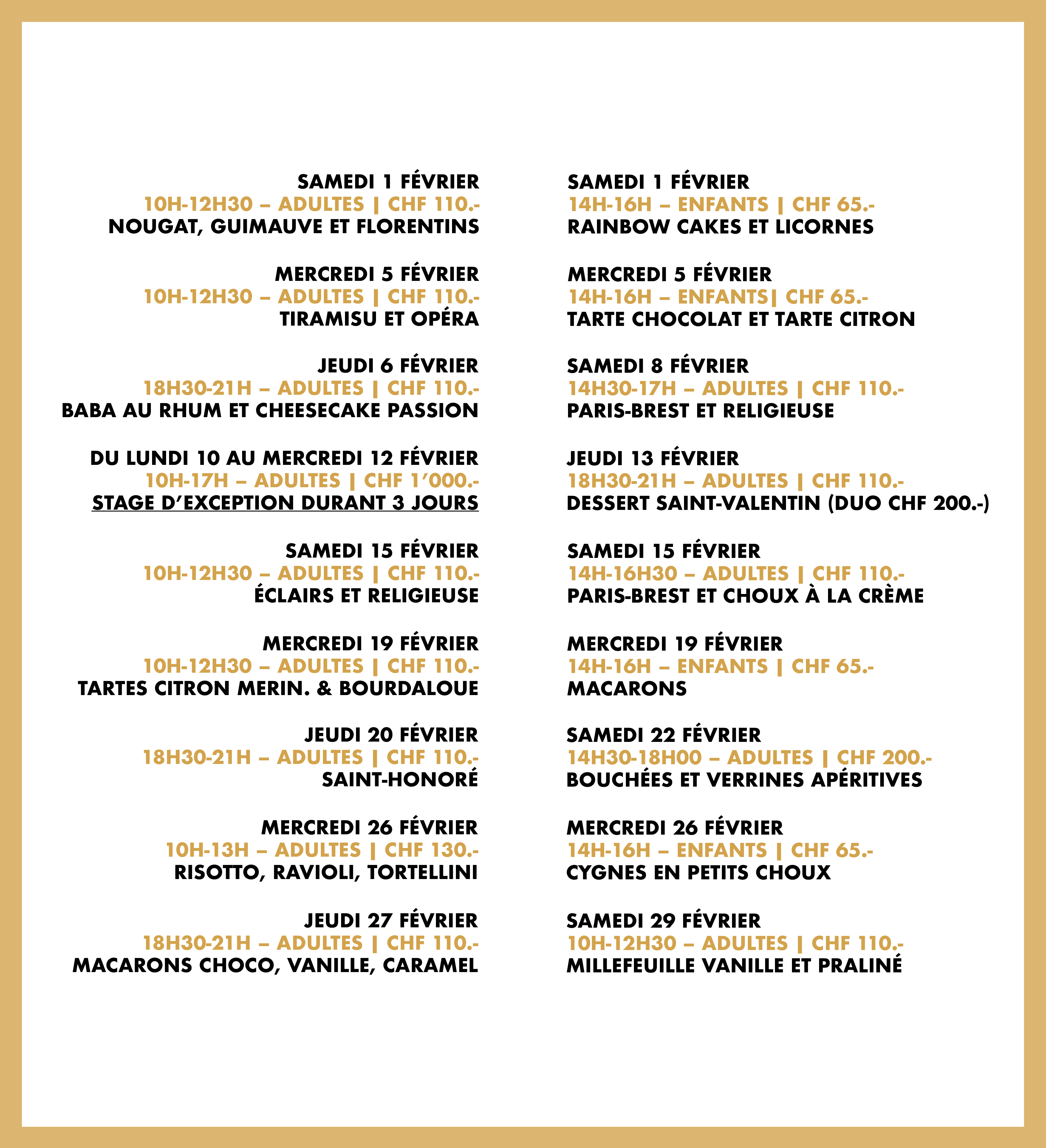 Programme du mois de février 2020