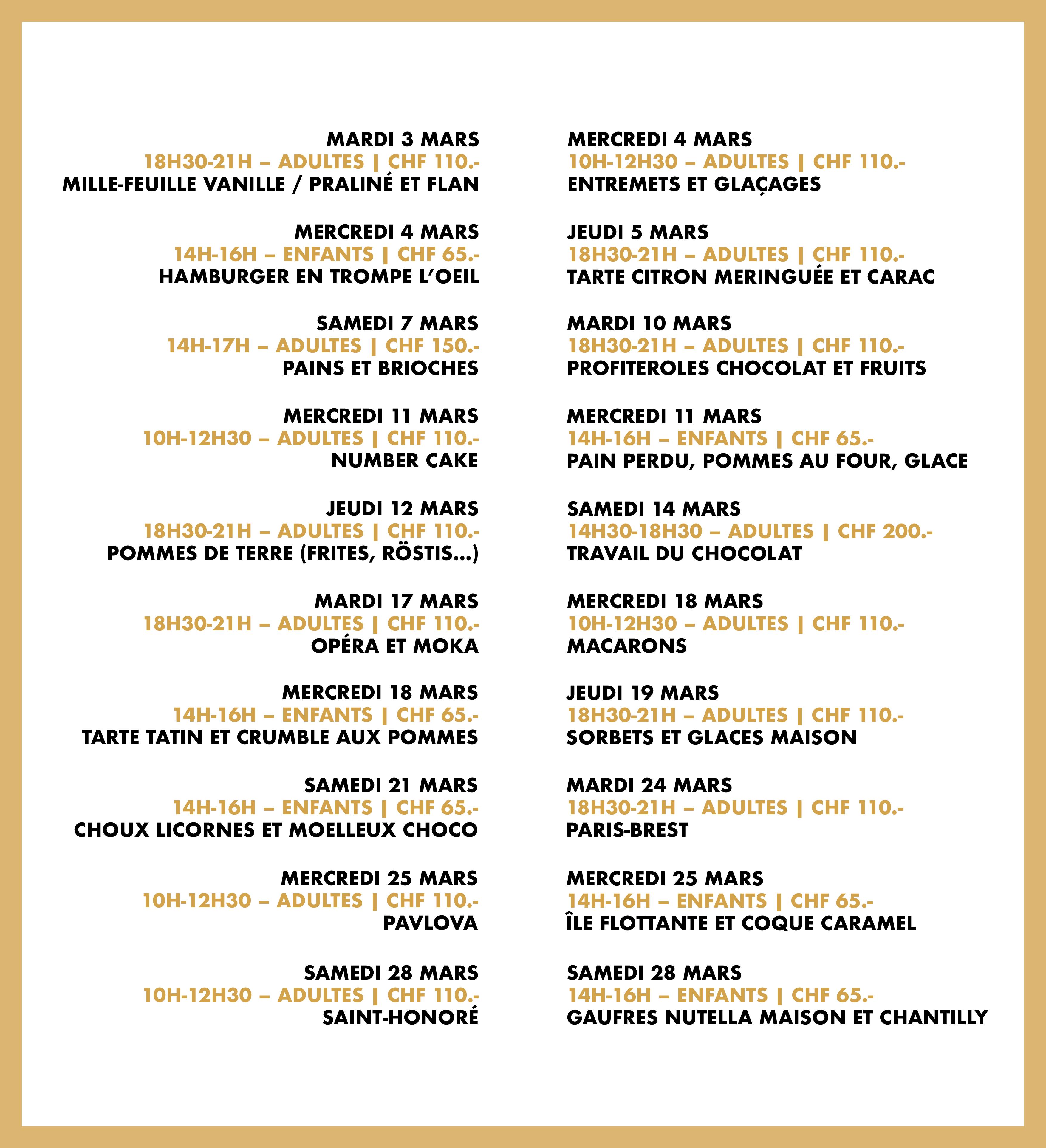 Programme du mois de mars 2020