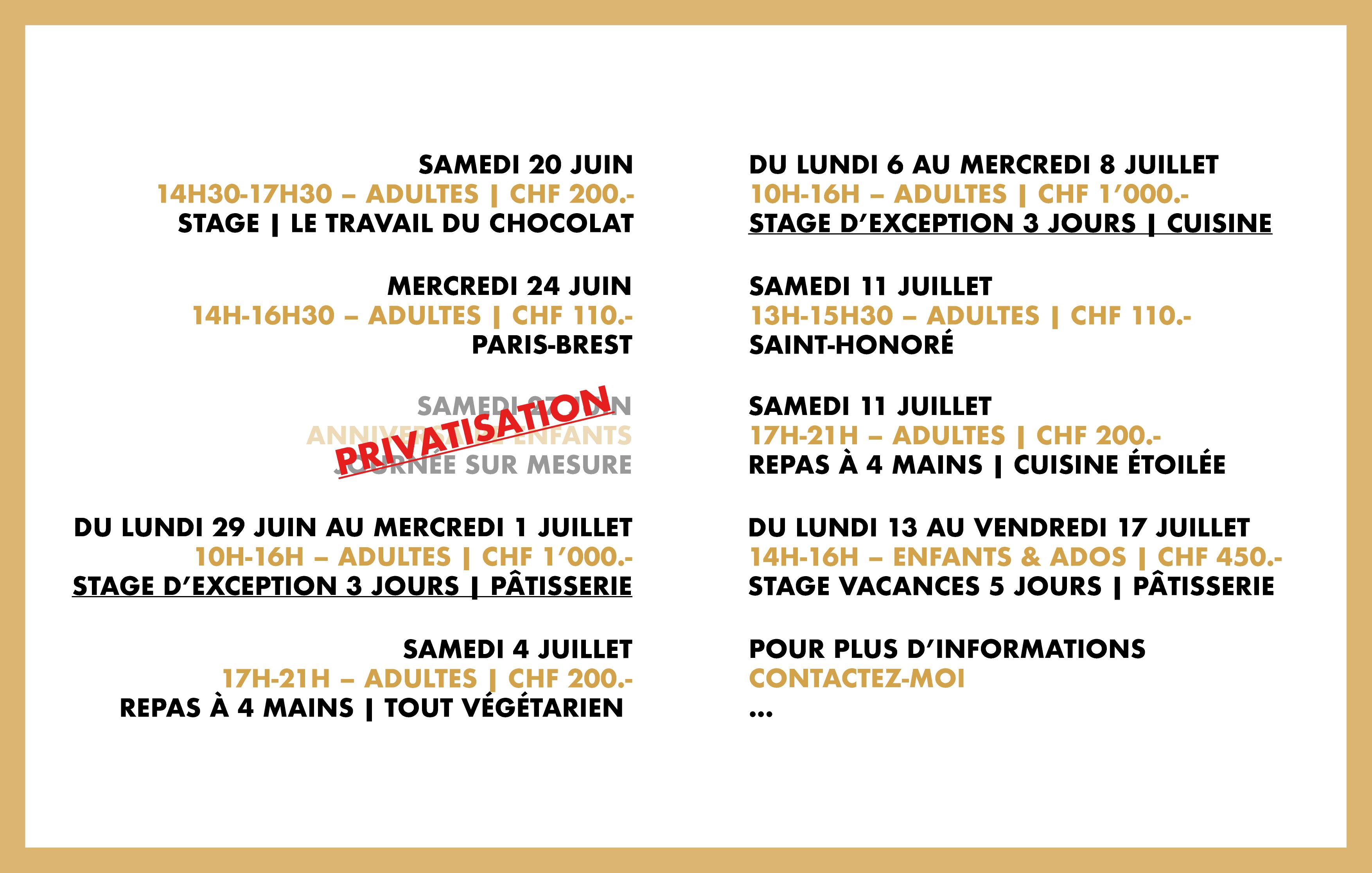 Programme du mois de juin et juillet 2020
