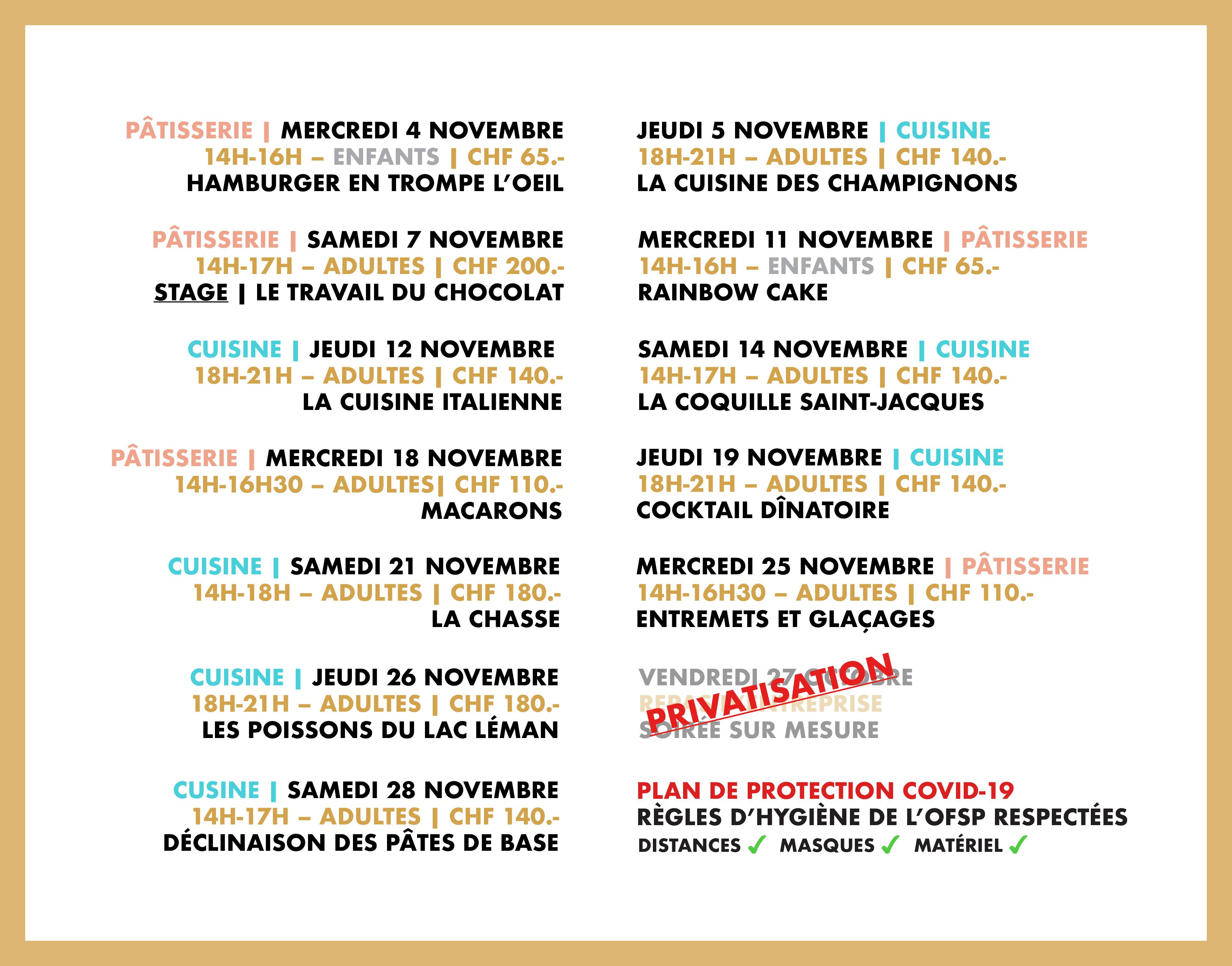 Programme du mois d'octobre 2020