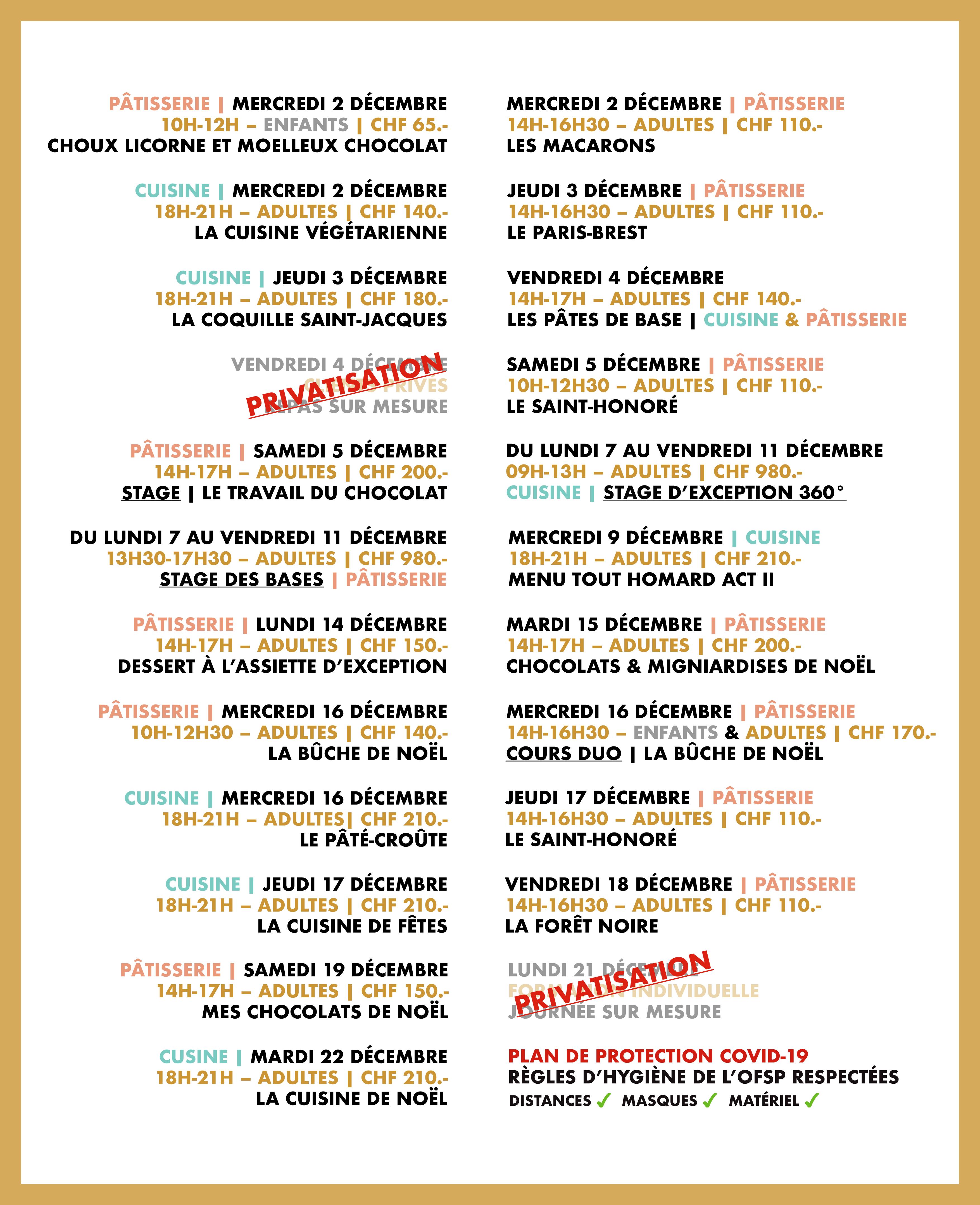 Programme du mois de décembre 2020