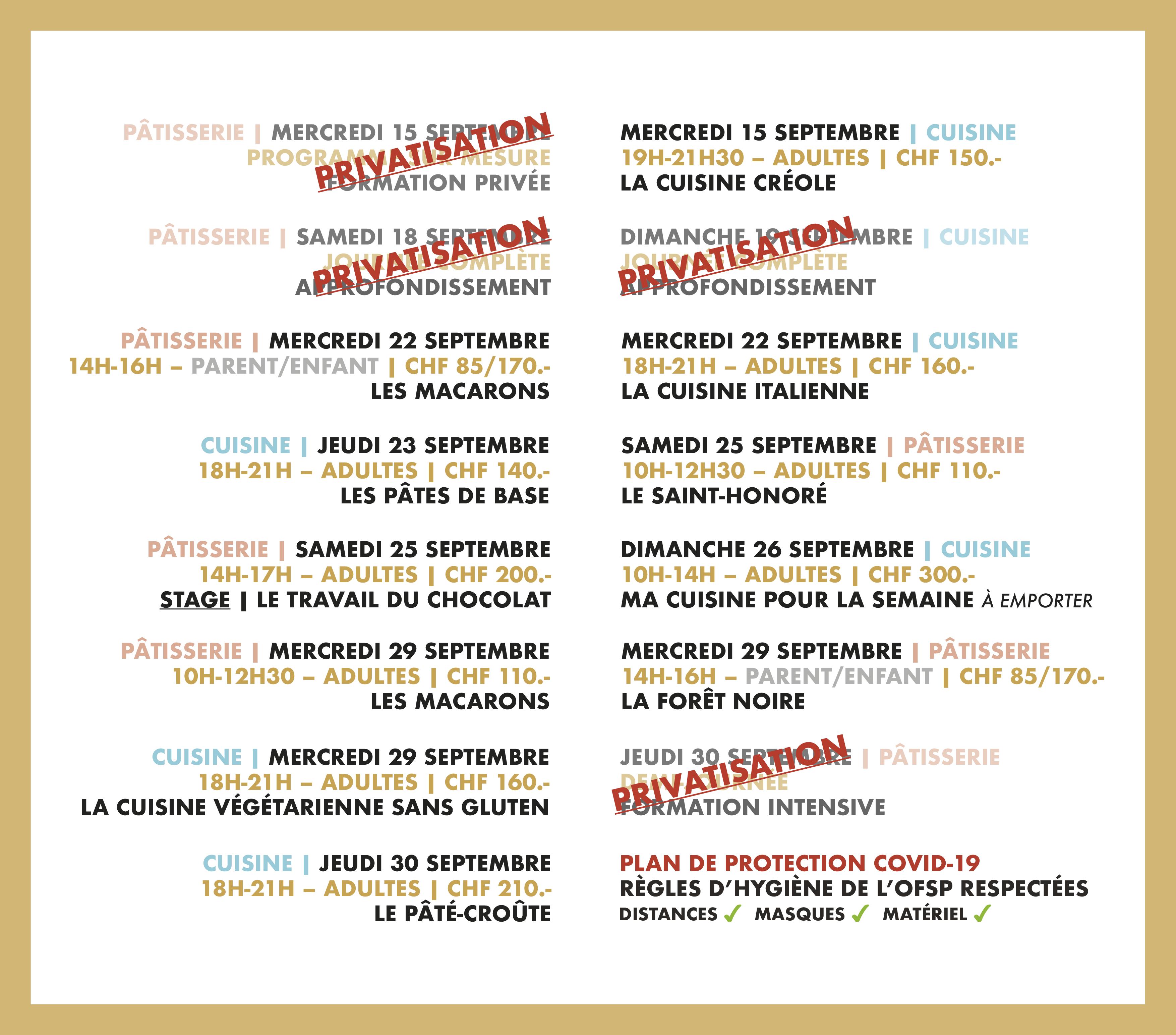 Programme du mois de septembre 2021